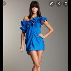 BCBGMAXAZRIA One Shoulder Ruffle Dress size 12